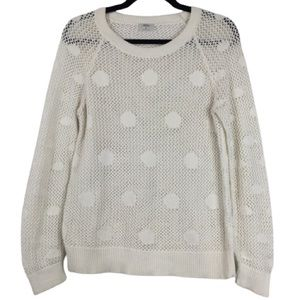 Madewell Wallace Polka Dot Open Knit Sweater White